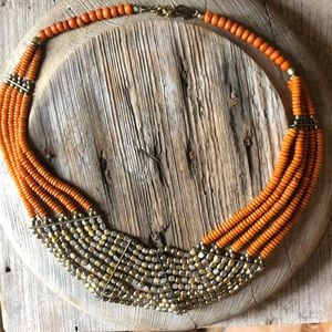 Jewelry - Orange and brass choker necklace